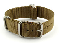 20mm Desert Tan - Nylon Watch Strap/Band Strong Heavy Duty (4/5 rings) Military