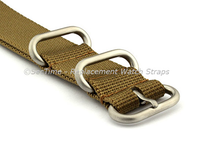 20mm Desert Tan - Nylon Watch Strap/Band Strong Heavy Duty (4/5 rings) Military
