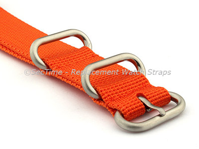 24mm Orange - Nylon Watch Strap / Band Strong Heavy Duty (4/5 rings) Military