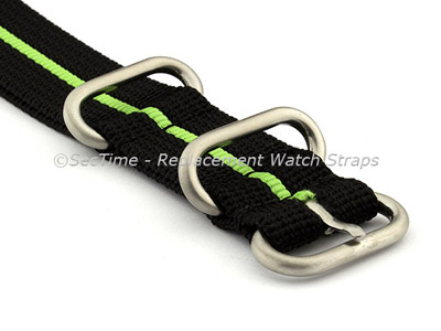 26mm Black/Green - Nylon Watch Strap/Band Strong Heavy Duty (4/5 rings) Military