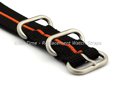 24mm Black/Orange - Nylon Watch Strap/Band Strong Heavy Duty(4/5 rings) Military