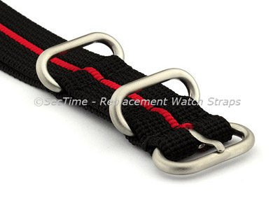 26mm Black/Red - Nylon Watch Strap / Band Strong Heavy Duty (4/5 rings) Military