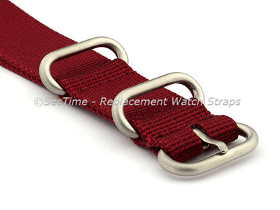 24mm Maroon - Nylon Watch Strap / Band Strong Heavy Duty (4/5 rings) Military
