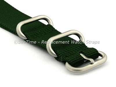 NATO Nylon Watch Strap Strong Heavy Duty (4/5 rings) Military Green 24mm