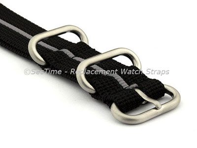 NATO Nylon Watch Strap Strong Heavy Duty (4/5 rings) Military Black/Grey 24mm