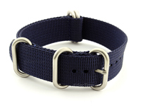 NATO Nylon Watch Strap Strong Heavy Duty (4/5 rings) Military Navy Blue 18mm