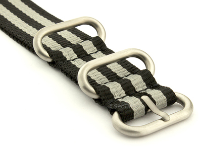 NATO Nylon Watch Strap Strong Heavy Duty 4/5 rings Military Black/Grey (JB) 24mm