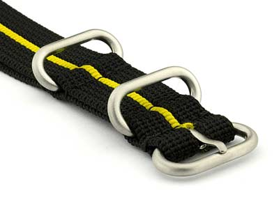 NATO Nylon Watch Strap Strong Heavy Duty 4/5 rings Military Black/Yellow 26mm