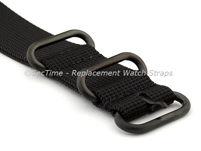 26mm Black - Nato Nylon Watch Strap / Band Strong Heavy Duty (4/5 rings) PVD
