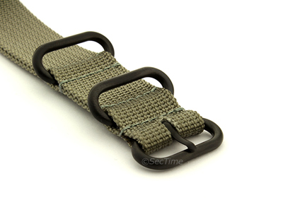 26mm Grey - Nato Nylon Watch Strap / Band Strong Heavy Duty (4/5 rings) PVD
