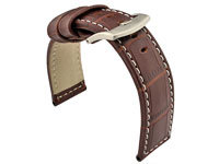 Genuine Leather Watch Strap CROCO PAN Dark Brown/White 24mm