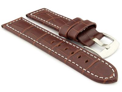 Genuine Leather Watch Strap CROCO PAN Dark Brown/White 24mm