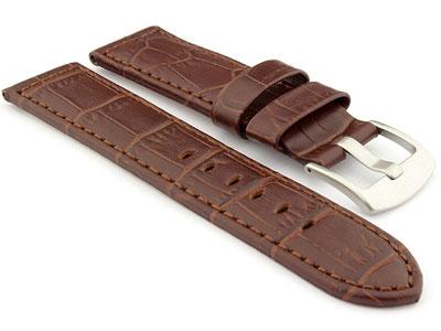 Genuine Leather Watch Strap CROCO PAN Dark Brown/Brown 24mm