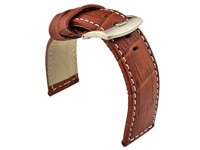 Genuine Leather Watch Strap CROCO PAN Brown/White 20mm