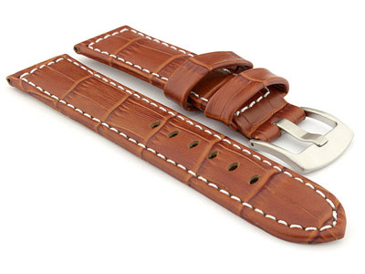 Genuine Leather Watch Strap CROCO PAN Brown/White 24mm