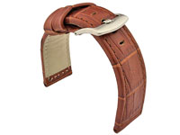 Genuine Leather Watch Strap CROCO PAN Brown/Brown 22mm