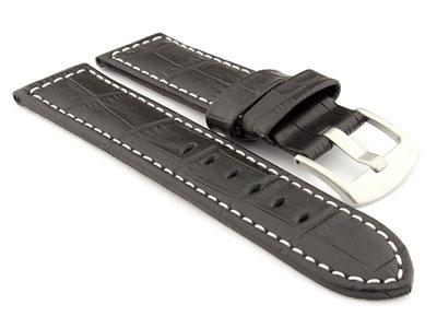 Genuine Leather Watch Strap CROCO PAN Black/White 24mm