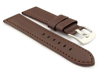 Genuine Leather Watch Strap PAN Dark Brown/Brown 24mm