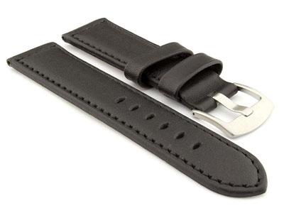 Genuine Leather Watch Strap PAN Black/Black 24mm