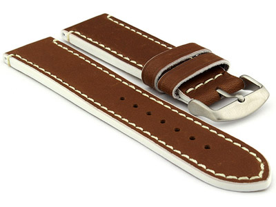 Genuine Leather Watch Band PORTO Brown/White 22mm