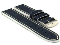 Genuine Leather Watch Band PORTO Navy Blue/White 18mm