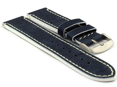 Genuine Leather Watch Band PORTO Navy Blue/White 22mm
