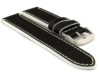Genuine Leather Watch Band PORTO Black/White 22mm
