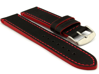 Genuine Leather Watch Band PORTO Black/Red 20mm