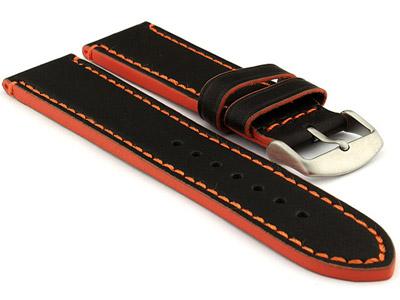 Genuine Leather Watch Band PORTO Black/Orange 22mm