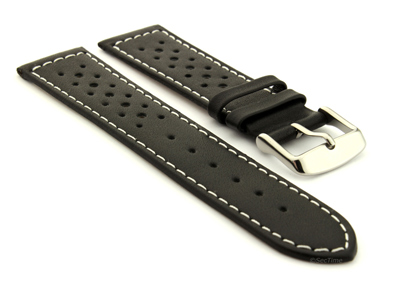 20mm Black/White - Genuine Leather Watch Strap / Band RIDER, Perforated