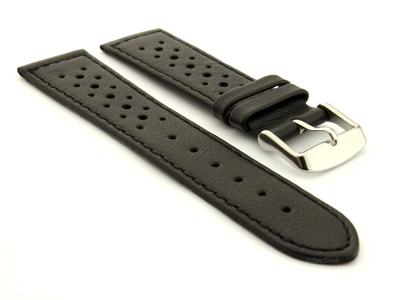 18mm Black/Black - Genuine Leather Watch Strap / Band RIDER, Perforated