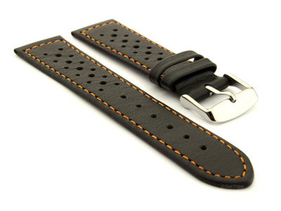 20mm Black/Orange - Genuine Leather Watch Strap / Band RIDER, Perforated