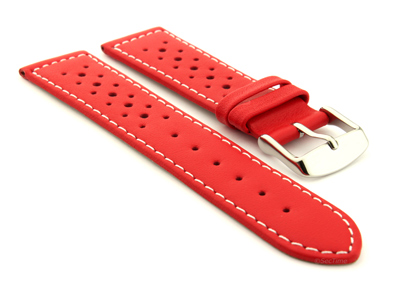 18mm Red/White - Genuine Leather Watch Strap / Band RIDER, Perforated