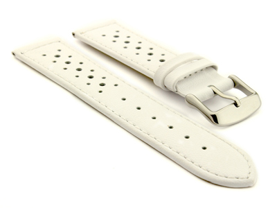 20mm White/White -  Genuine Leather Watch Strap / Band RIDER, Perforated