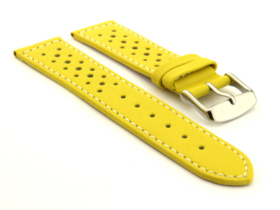 20mm Yellow/White - Genuine Leather Watch Strap / Band RIDER, Perforated