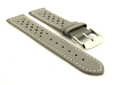 20mm Grey/White - Genuine Leather Watch Strap / Band RIDER, Perforated