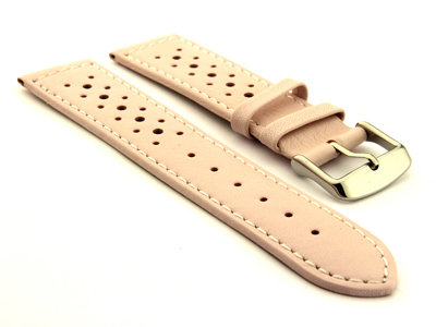 18mm Pink/White - Genuine Leather Watch Strap / Band RIDER, Perforated