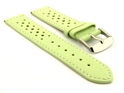 18mm Pistachio/White - Genuine Leather Watch Strap / Band RIDER, Perforated