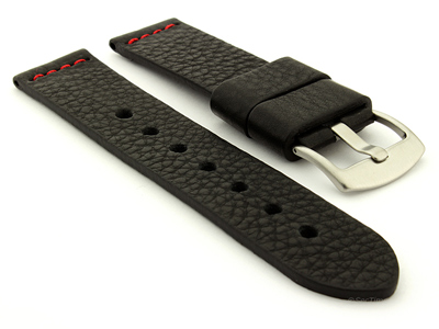 Genuine Leather Watch Strap RIVIERA RM Black/Red 20mm