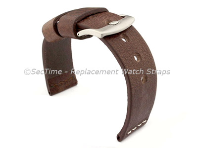 Genuine Leather Watch Strap RIVIERA Extra Long Dark Brown/White 20mm