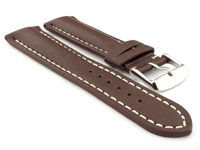 Padded Genuine Leather Watch Strap SAHARA Dark Brown/White 24mm