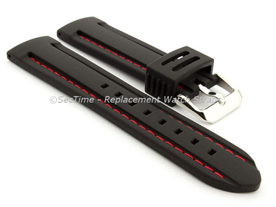Silicon Rubber Waterproof Watch Strap Panor Black / Red 20mm