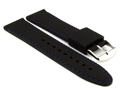 20mm Black/Blue - Silicon Watch Strap / Band with Thread, Waterproof