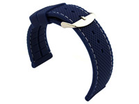 24mm Blue/White - Silicon Watch Strap / Band with Thread, Waterproof