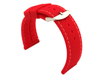 20mm Red/White - Silicon Watch Strap / Band with Thread, Waterproof