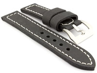 22mm Black/White - Genuine Leather Hand-Stitched Watch Strap/Band SIRIUS
