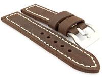 26mm Dark Brown/White - Genuine Leather Hand-Stitched Watch Strap/Band SIRIUS
