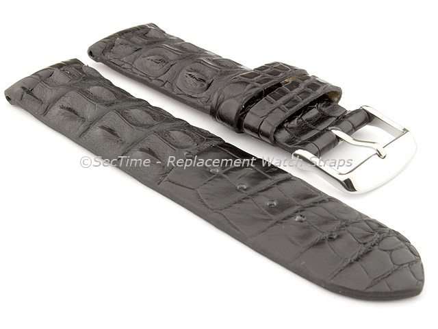 Genuine Alligator Leather Watch Strap FLORIDA Black 22mm