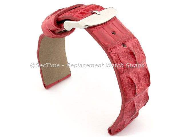 Genuine Alligator Leather Watch Strap FLORIDA Red 20mm