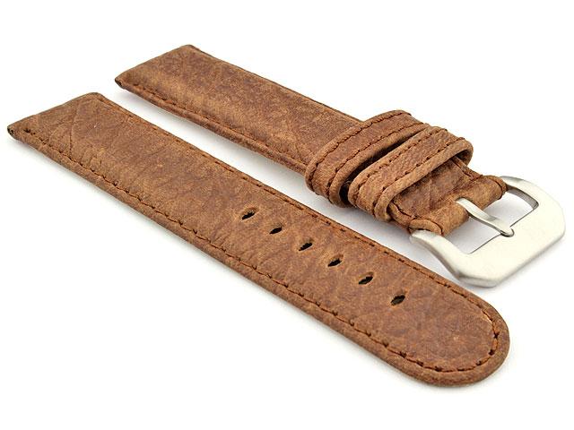 Genuine Buffalo Leather WATCH STRAP Bizon Dark Brown/Brown 20mm